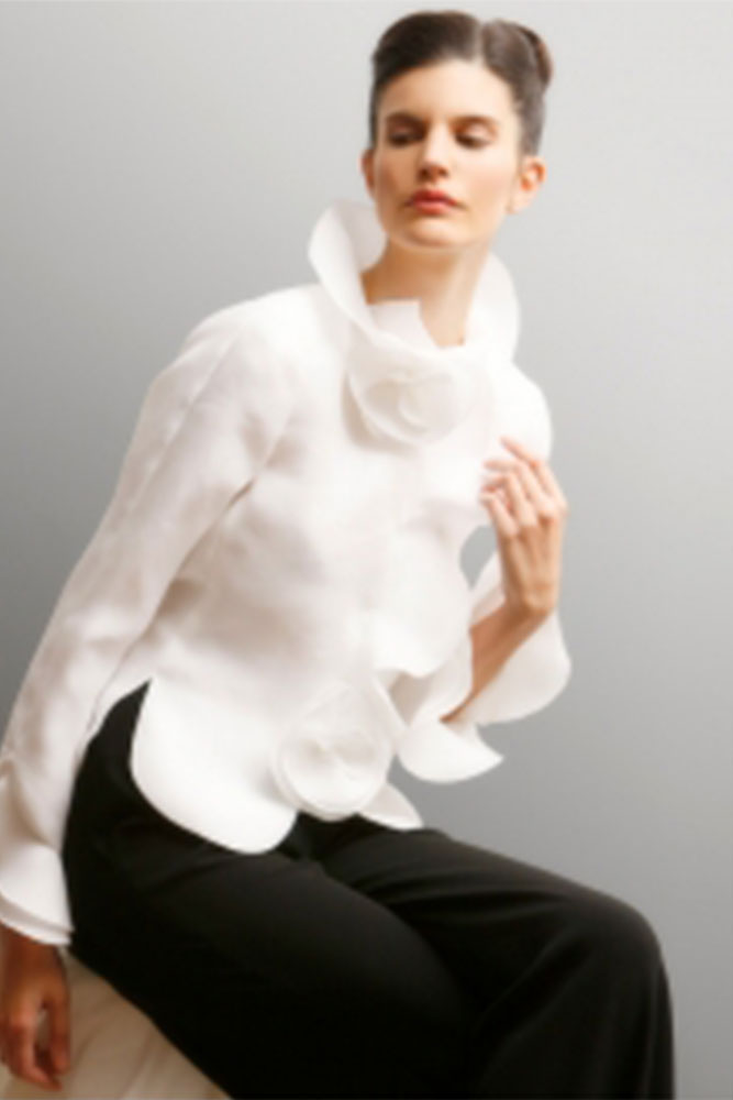 Silk Organza Special Occassion Evening High Neck Ruffle Blouse W